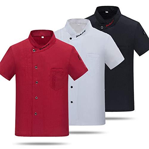 2019 Unisex Restaurant Küchenchef Uniform Shirt Atmungsaktiv mit kurzen Ärmeln Chef Jacke Arbeitskleidung für Männer Großhandel,Red,L