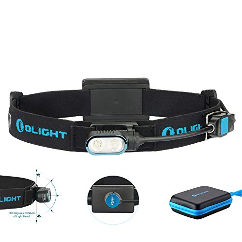 Olight Array Ultralight Rechargeable Headlamp Flashlight Two Cool White LED 180 Degrees Head Rotation Built-in Battery Pack