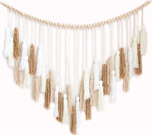 Decocove Macrame Wall Hanging - Large Macrame Wall Hanging with Wood Beads -...