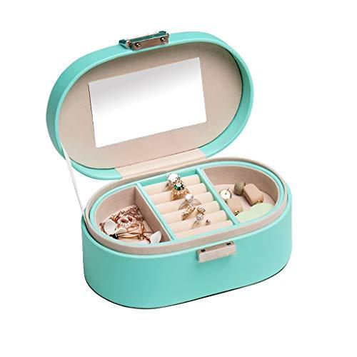ZRL Organizador de joyas con espejo, organizador portátil, 2 capas, anillos, pendientes, collares, joyas, caja de almacenamiento de viaje (color verde)