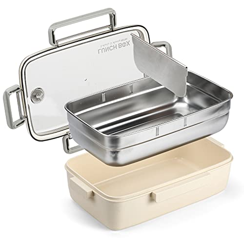 Kasimir Porta Pranzo Lunch Box e Acciaio Inossidabile Bento Box per Adulti e Bambini con Partizione Rimovibile, 1500 ml, A Prova di Perdita, Microonde e Lavastoviglie/Senza BPA