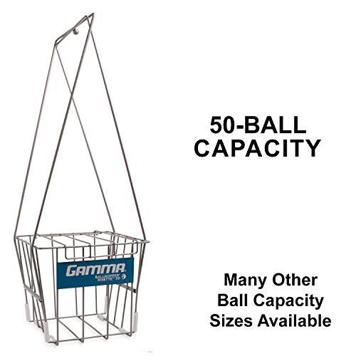 GAMMA Sport Tennis ballhoppers–langlebig, praktisch, robuste Konstruktion, für Tennis Ball Pickup, Transport und Aufbewahrung, (verschiedene Designs/Kapazitäten zu halten 50, 55, 75, 90, 110, 140Bälle), unisex - erwachsene, Risette 50, Silver (Holds 50 Balls), Holds 50
