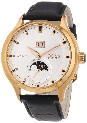 Hugo Boss 1512655 - Reloj analógico automático para Hombre con Correa de Piel, Color Negro