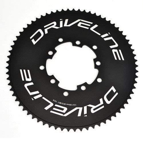 Driveline 69T AL7075 - Cadena para bicicleta de carretera TT 69T, BCD 110/130 mm, color negro, ST1408