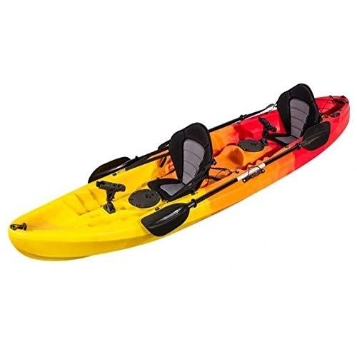 Kayak rigide de pêche pour deux.370x 86x 42cm.Canoë-kayak équipé de sièges, de 2coffres, de pagaies en aluminium, de 2supports à pagaies fixes et 2supports à pagaies orientables à 360°
