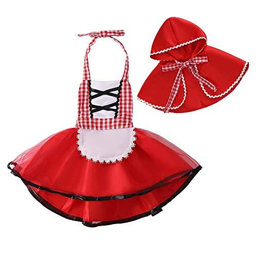 MYRISAM Costume Carnevale Cappuccetto Rosso Bambina Ragazze Abito da Principessa per Compleanno Cerimonia Halloween Cosplay Natale Festa Abiti con Mantello 6-12 Mesi