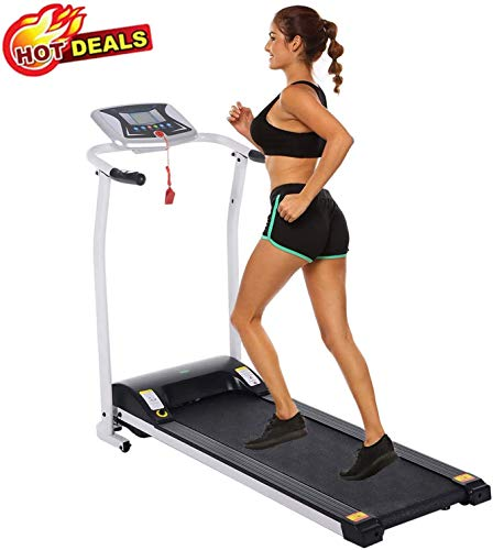 Folding Treadmill Electric Motorized Power Walking Jogging Running Exercise Fitness Machine Trainer Equipment for Home Gym Office Space Saver Easy Assembly (White)