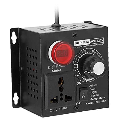 EElabper 220V 4000W SCR Regulador de Voltaje electrónico Motor de Temperatura Motor de Ventilador Motor Controlador de Velocidad Controlador de Velocidad Dimmer Herramienta eléctricamente Ajustable