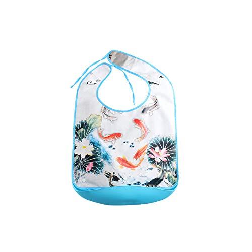 Baberos impermeables para adultos con bolsillo   Protector de ropa lavable de silicona, reutilizable, protector de ropa para personas mayores con discapacidad, Largo