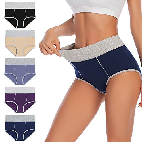 YaShaer - Mutande da donna, in cotone, a vita alta, confezione multipla Mehrfarbiges 01- 5er Pack M