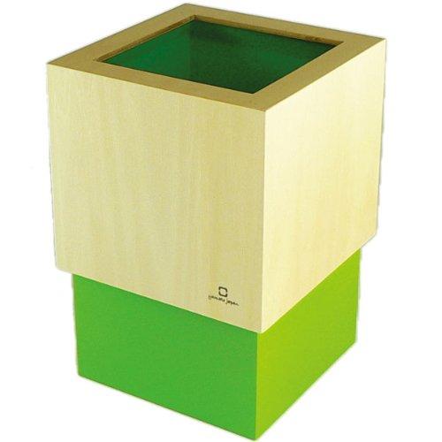 ヤマト工芸 W CUBE ダストボックス DUSTBOX M 黄緑色 YK09-020Lgr 4L