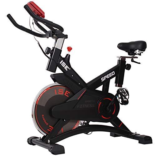 ISE Bicicletta Spinning Cyclette Indoor con Volantino di Inerzia&Resistenza Regolabile