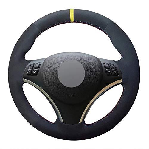 SODMLZ Coprivolante per Auto Cucito a Mano in Pelle Scamosciata Nera Fai-da-Te, per BMW M Sport Serie 3 E91 320i 325i 330i 335i M3 E90 E92 E93