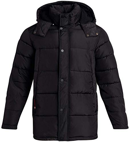 CANADA WEATHER GEAR Men's Heavy-Weight Puffer Bubble Jacket with Removable Hood, Size Large, Black'
