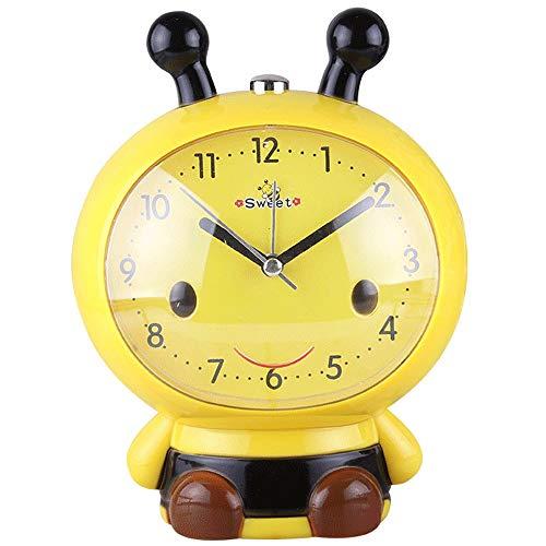 ZZA Cartoon-Wecker sprechender Kinderwecker mit Stummschaltung für Studenten, Nachttisch, multifunktional, Bienenen-Uhr gelb