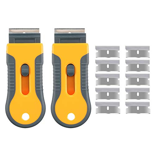 2 Pack Glass & Ceramic Hob Scraper Knife Cleaner & 10 Spare Replacement Cleaning Tools Wallpaper Remover for Scraping Stickers, Decals, Labels, Paint, Stovetop, Caulk, Subfloor