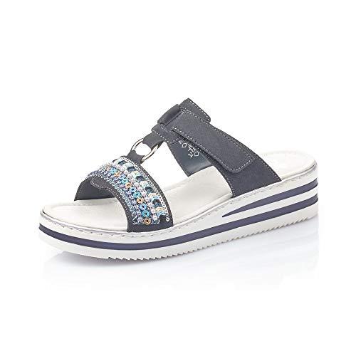 Rieker Mujer Sandalias de Vestir V02M6, señora Sandalias de cuña,Zapatos del Verano,cómodo,Plana,Pazifik,41 EU / 7,5 UK