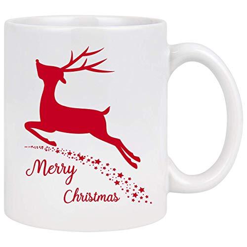 Tazza da caffè natalizia Tazza da caffè natalizia Renna con stelle Decorazione festiva I migliori regali di Natale per amici di famiglia Colleghi Uomini Donne o uso quotidiano Tazza in ceramica