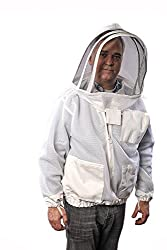 Image of man in bee jacket, top beekeeping equipment