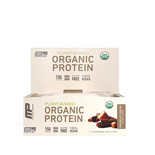 MusclePharm Organic Plant-Based Protein Bar, 15g Protein, Chocolate Toffee Bars, 12 Count