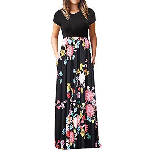 LOPILY Damen Sommerkleider Böhmischen Strand Blumendruck Bodenlänge Maxikleid Abendkleider Herrlich Blüte Drucken Hoher Taille Kleider Partykleid Sommer T-Shirt Kleid(X3-Rot,DE-46/CN-3XL)