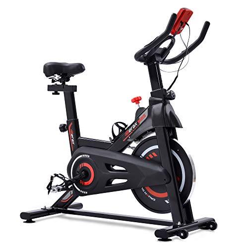 Bicicleta estática para interior con resistencia magnética, para gimnasio de cardio estacionario, volante de inercia de 6 kg y asiento cómodo ajustable (rojo)