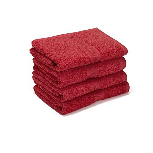 AR Line 4er Pack zum Sparpreis, Frottier Handtuch-Serie - in 7 Größen und 16 Farben 100% Baumwolle 500 g/m², 4er Pack Saunatücher (70x200 cm) in Rot