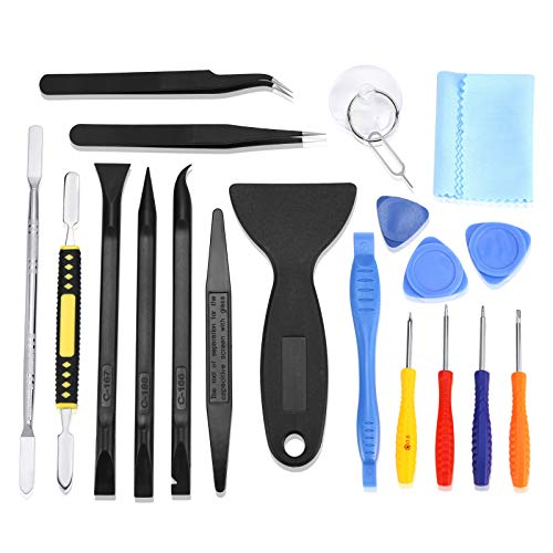 Smilelove Opening Pry Tool Repair Kit with Metal Spudger NonAbrasive Carbon Fiber Nylon Spudgers and AntiStatic Tweezers for Cellphone iPhone Laptops Tablets and More 20 in 1 Opening Pry Tool