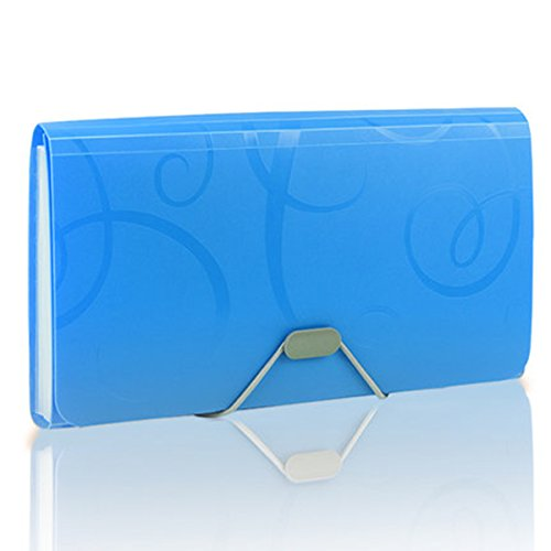 USUNQE 1 Piece Expanding Files Folder with Tabs, 13 Pockets File Organizer for Receipts Coupons Checks and Tickets, Blue Color