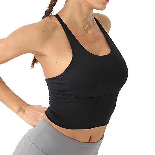 Damen Sport-BH Gepolsterter Trainings-BH mit Halbem Ständer Unterwäsche-BH mit Gekreuzten Trägern (M, Schwarz)