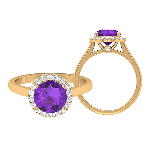 Anillo solitario de amatista de corte redondo de 8.00 mm, D-VSSI Moissanite, anillo de compromiso halo, anillo de promesa de oro (calidad AAA), 14K Oro amarillo, Size:EU 58