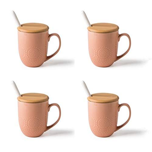 HRDZ Taza de cerámica Creativa Taza de 8,9 cm x 11 cm de Gran Capacidad con Tapa Cuchara Taza de café Taza de cerámica Taza de cerámica Naranja * 4 410mkl