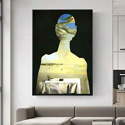 Kunst Wandplakat Fantasie Schädel Surrealismus Klassische nordische Leinwand für Heimdekoration,Rahmenlose Malerei,30x45cm