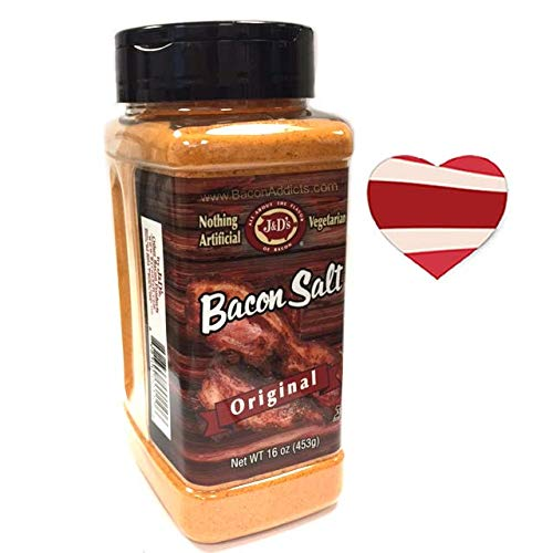 J&D's Big Pig Original Bacon Salt (Jumbo 16 Ounce Bottle + Sticker) - Low Sodium Bacon Flavored Seasoning Salt + Bacon Heart Sticker