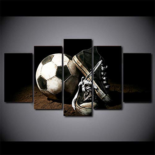 SESHA HD Impreso 5 Piezas Lienzo Arte Zapatos De Fútbol Pintura Modular Deporte Cartel Pared Cuadros Decoración del Hogar(Sin Marco)