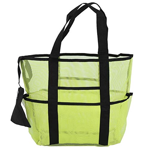 Furren Marine AccessoriesMesh Beach Bag Portable Outdoor Travel Sport Storage Organizer Beach Tote Bag 8 Large Pockets Travel Bags for Clothes Makeup Toys Color  Green