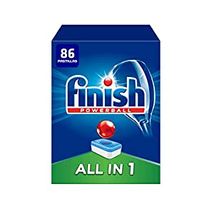 Finish Powerball All in 1 Original – Pastillas para el Lavavajillas todo en 1, Fragancia Limón, Formato 55 Unidades