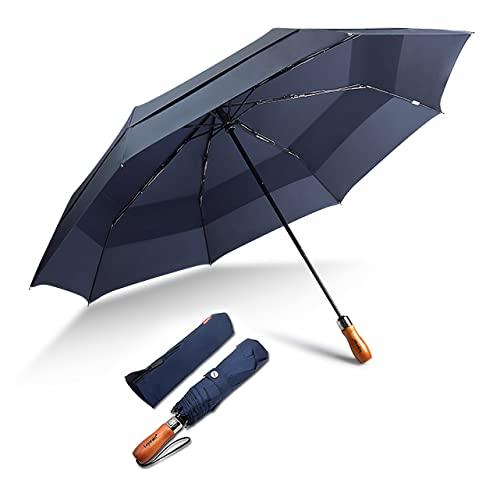 Lejorain Regenschirm Windproof XXL Taschenschirm-inkl.Schirm-Tasche&Winddicht Doppel Baldachinmit, sturmfest Auf-Zu Automatik 210T Nylon