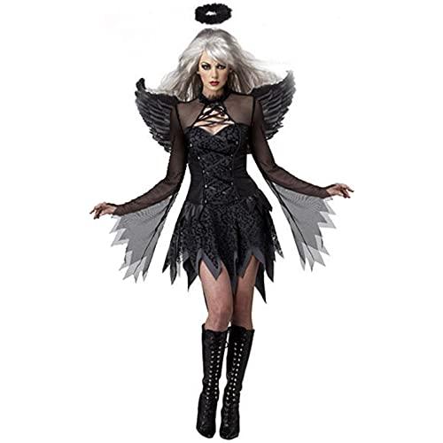 Zimuuy Mujer Disfraz Vspera-de-Todos-los-Santos Bruja Cospaly con ala Vestido de Tul Negro Sexy(Negro,M)