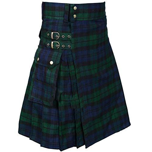 acsefire Falda Escocesa para Hombre Falda Medieval Vintage Punk Gothic Tradicional Highland Combat Kilt con Bolsillos