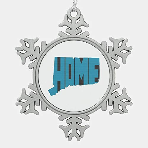 JamirtyRoy1 Christmas Ornament, Blue Connecticut Home Word Art Christmas Ornament, Xmas Tree Hanging Decorations, Home Decor, Keepsake Gift, 3 Inch Snowflake Ornament