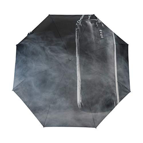 DUILLY Automatischer Regenschirm zum Öffnen/Schließen,Schwarzer Boxsack,Winddichter,wasserdichter,schnell trocknender,Leichter,kompakter,zusammenklappbarer Kleiner Sonnenschirm