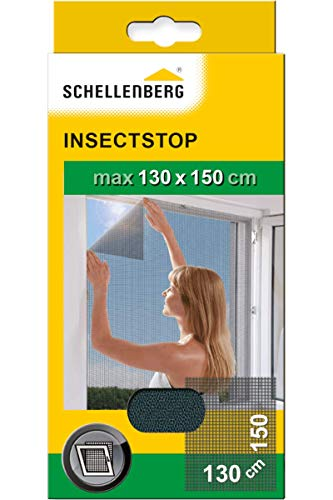 Schellenberg 50715 Fliegengitter für Fenster Insektenschutz und Mückenschutz inkl. Klebestreifen, ohne Bohren, 130 x 150 cm