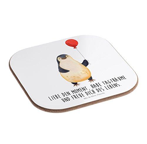 Mr. & Mrs. Panda Schenken, Frühstück, Quadratische Untersetzer Pinguin Luftballon mit Spruch - Farbe Weiß