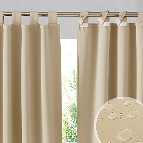 RYB HOME Outdoor Patio Curtains - Detachable Top Waterproof Outdoor Privacy Screen Blackout Curtains for French Door Porch Pergola Cabana Sun Room Deck, W 52 x L 84 inch Long, 1 Pair, Beige
