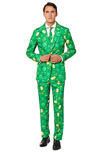 SUITMEISTER Patrick Clover Suit with Shamrock Print for Men Coming with Green Pants, Jacket, Tie (L)