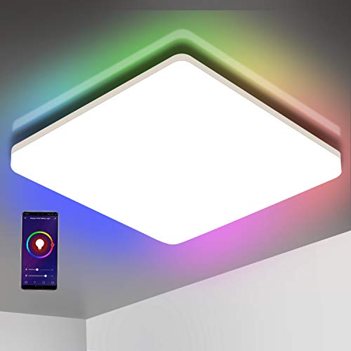 Oeegoo Wifi Smart Lámpara LED de techo, control de aplicación, control por voz (Alexa, Google Assistant), 15W IP54, cambio de color, regulable, blanco cálido y frío, luz ambiental RGB