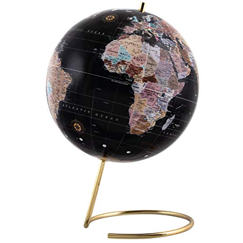 Refinery & Co. Desktop Globe, Vintage-Style Tabletop Home or Office Décor, Contemporary Decorative Spinning World with Gold Polished Brass Base, Best Wanderlust Gift for Traveler or Jetsetter