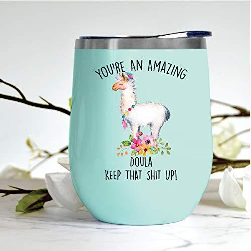 Regalo para Doula, Doula regalo para cumpleaños, divertido regalo de Doula, regalo de Navidad para Doula, regalo de Doula para ella, vaso de vino sin tallo para Doula, 12 onzas