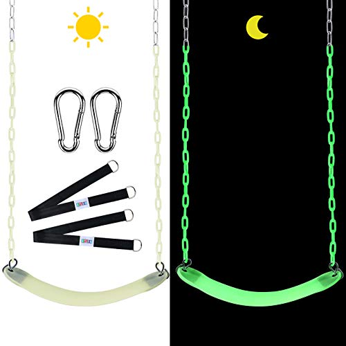 Noctilucent Swings Seat with 66' Chain Plastic Coated Tree Swing Straps Mounting Caribiners Complete...
